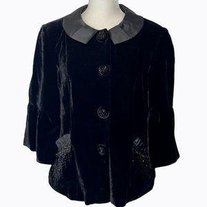 Nanette Lepore Black Velvet Beaded Jacket  8